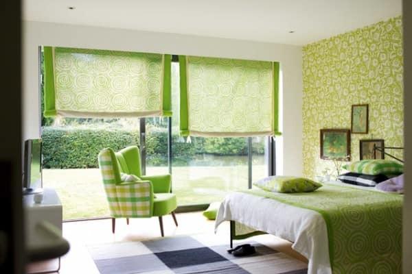 quarto colorido de verde