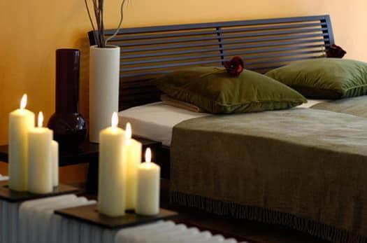 decoração com velas no quarto