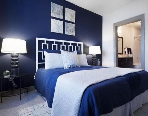 decoração de quarto de casal em azul